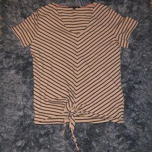 5/$20 Jones New York large striped tie front top